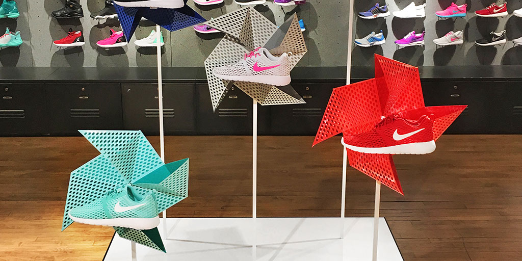 Image of retail display with metal perforated pinwheels