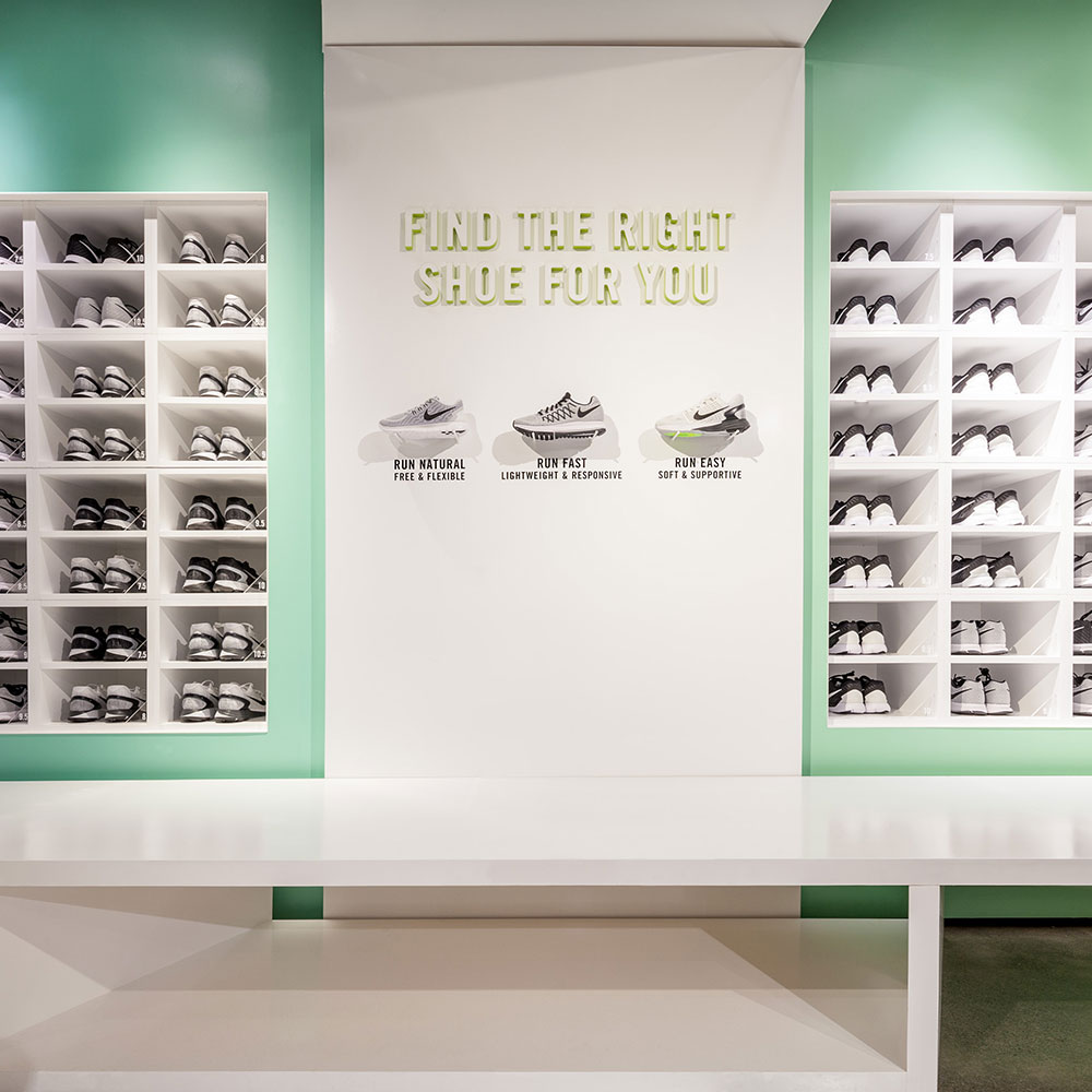 Image of a shoe display for a custom event