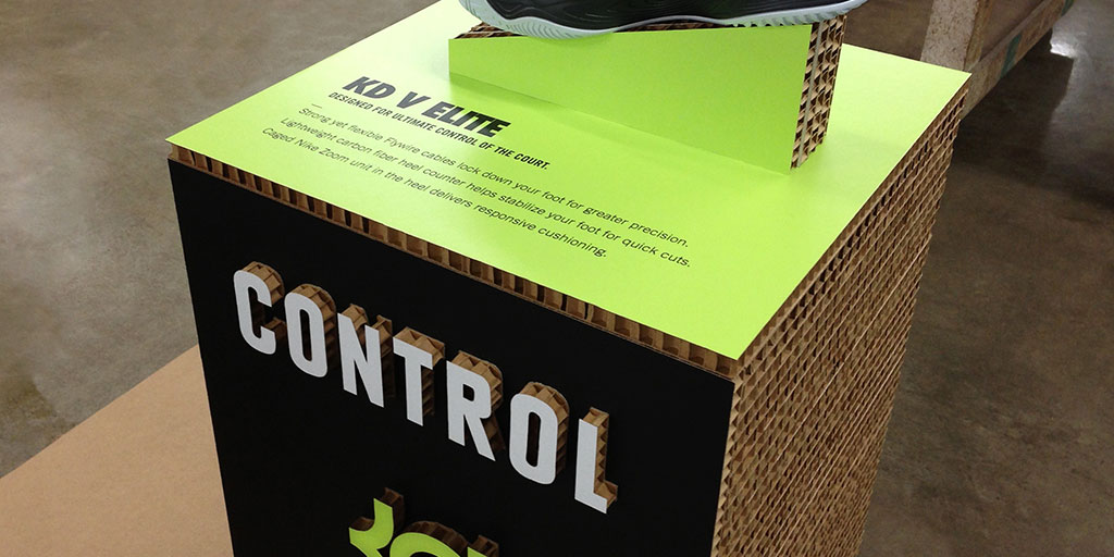Image of a pedestal made from corrugated cardboard